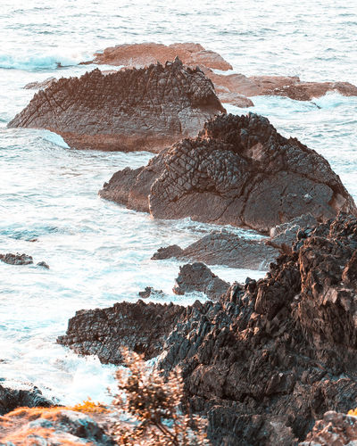 Rock formation on beach