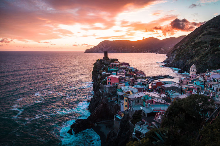 Vernazza, sunset from the vantage point. cinque terre