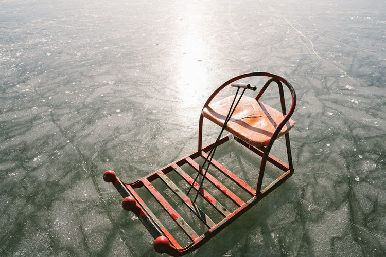 Sled On Frozen Lake