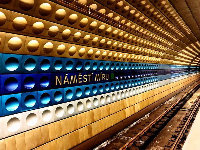 Illuminated railroad station