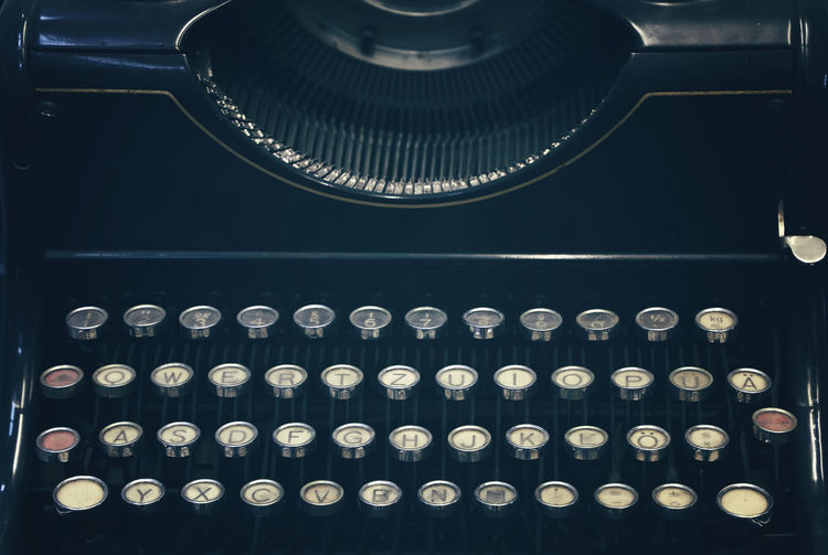 Close-up of typewriter