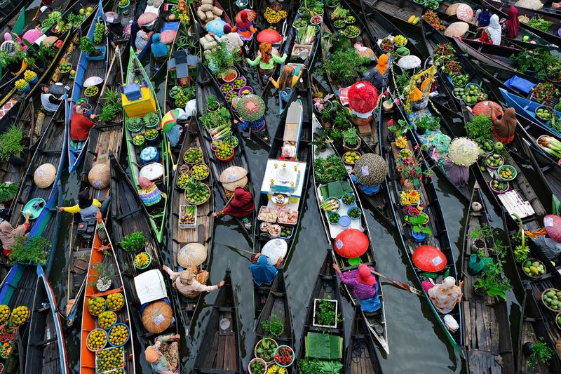 High Angle View Of Multi Colored Boats In Market