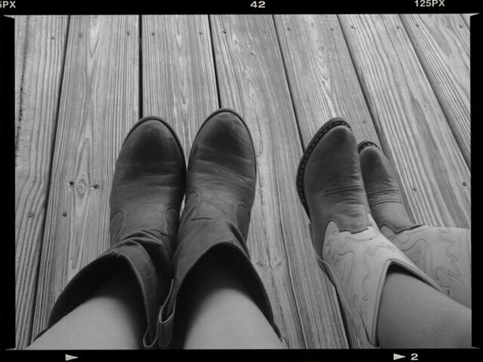 Chillin with my lil sis with my cowgirl boots on♥ Hanging Out Outside♥