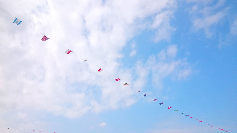 Country flags in the sky. ☁🚩☁ Blue Blue Sky Bluesky Bunting Clouds Clouds And Sky Country Flags Decoration EyeEm Best Shots Festival Flag Flags Flags Of All Nations Flying Mid-air National Flag Outdoors Sky Sky And Clouds Sky_collection Skylovers Sunny Sunny Day Windy World