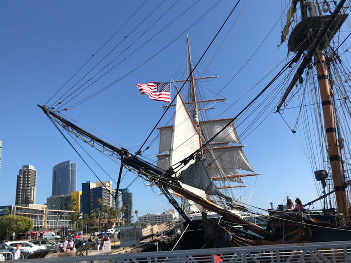 Old Boat Sailing Ship San Salvadore, San Diego, California, Star Of India, San Diego, California, Tall Ship Blue Sky Bowsprit City Clear Sky Flag History Looking Up Mast Nautical Vessel Outdoors Rigging Sails San Diego Maritime Museums Sky