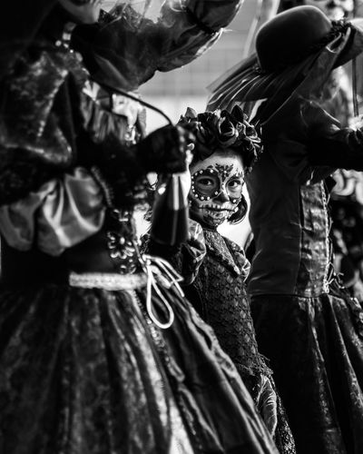 The Day of the Dead Parade in Mexico City. Day Costume Spooky Selective Focus Human Skeleton Horror Skeleton Halloween Mexico Mexico City Day Of The Dead Dia De Los Muertos Black And White Black & White Black And White Photography Street Street Photography Fujifilm Fujifilm_xseries Fuji WeekOnEyeEm EyeEm Best Shots EyeEm Selects Blackandwhite Photography Girl Human Connection
