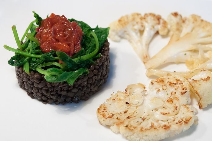 Lentils , Spinach , Tomato Chutney and Roasted Cauliflower Food