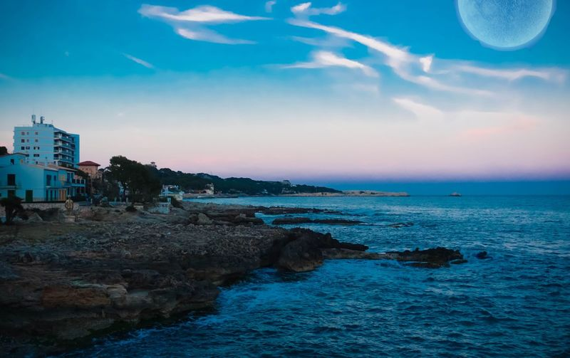 The world you see Cala Ratjada Mallorca Sunset Moonlight Vaporwave 80s 80sstyle Synthwave Coastline Spaın Beach Mediterranean  Sea Sea And Sky ArtWork
