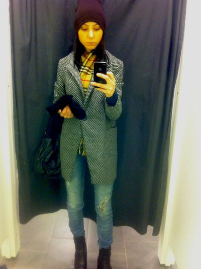 Young Women Girl Reflection In The Mirror Mobilephotography Mobile Phone Jacket Winter Coat Hands In Pockets Leather Jacket Pretty Posing Selfie Self Portrait Photography