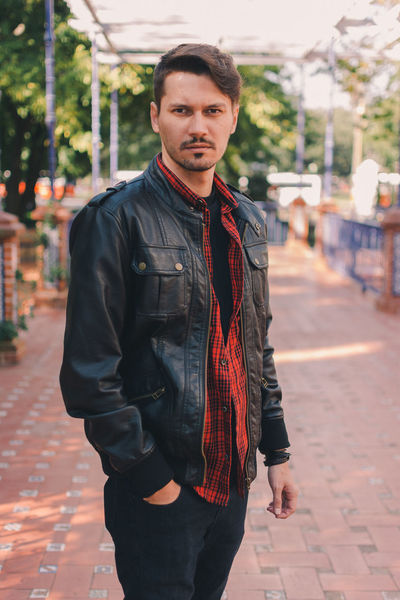 Argentina Boy Casual Clothing Focus On Foreground Front View Jacket Leather Leather Jacket Lifestyle Lifestyles Man Person Plaid Shirt  Portrait Standing Travel Vacation VSCO Vscocam Warm Clothing Young