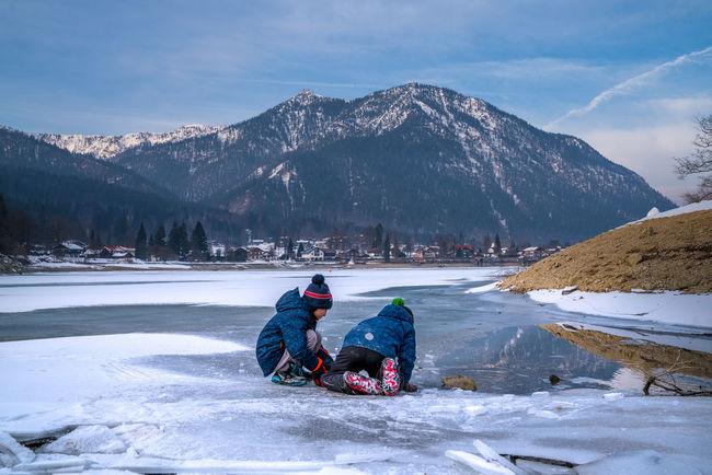 boys on ice Boys Ice Icedlake Mountain Frozen Winter Frozenlake Playing Playingonice Lake Lakeview Bavaria Kids Kidsonice TwoBoys Walchensee Herzogstand
