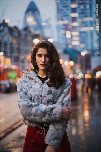 Beautiful girl in London Street Night City City Street Three Quarter Length One Person Young Adult Outdoors Winter Adults Only One Woman Only Focus On Foreground Weather Illuminated City Life Beautiful Woman Lifestyles Adult Building Exterior Young Women