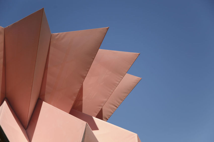 Sharp Pink - Architecture Blue Building Exterior Built Structure Clear Sky Close-up Copy Space Day Design Low Angle View No People Outdoors Pattern Shape Sky Sunlight