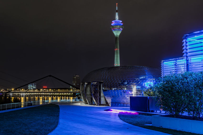 RoofTerrace Architecture Blue Bridge Capital Cities  City City Life Harbour Illuminated Medienhafen Düsseldorf Night No People Outdoors Railing Rhein River Roof Terrace Sky Tourism Walkway Waterreflections