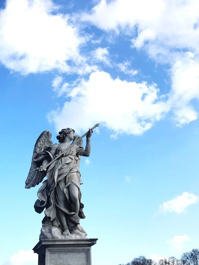 No angel Statue Sculpture Human Representation Sky Cloud - Sky Low Angle View Art And Craft