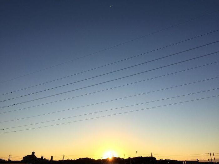 夕陽 Sunset 空 Sky 電線 Electric Wire グラデーション Gradation