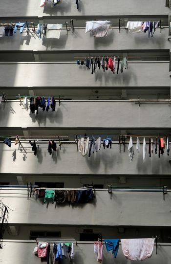 High angle view of people in factory