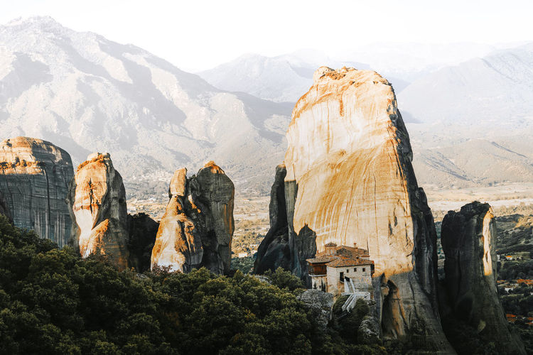 Landscape Nature Sunrise Meteora Meteora Monasteries Meteora Greece Mountain Rock Formation Mountain Range Physical Geography Geology Mountain Peak Natural Landmark Canyon Rock - Object Natural Arch Cliff Eroded