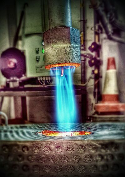 Close-up Foundrylife Foundry Flame Burner Blue Flame Working With Fire