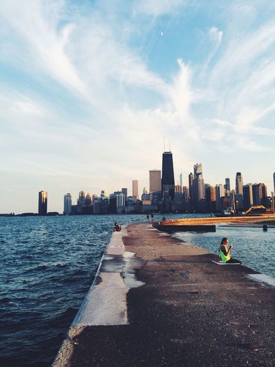North Avenue Beach, Chicago Chicago Beach Running Run Skyline City Run With A View Sunset Dusk Lake Michigan Illinois Exploring Explore Discover Your City