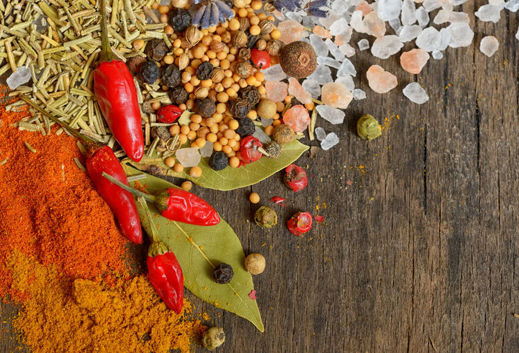 Directly above shot of various spices on wooden table