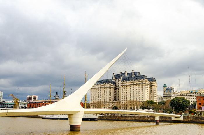 Women's bridge in Puerto Madero neighborhood of Buenos Aires, Argentina Architecture Argentina Buenos Aires Buenos Aires, Argentina  Building Business Capital Federal City Cityscape Colorful Destination Harbor Landmark Modern Outdoors Plaza Puente De La Mujer Puerto Madero South America Tourism Town Travel Urban View Waterfront