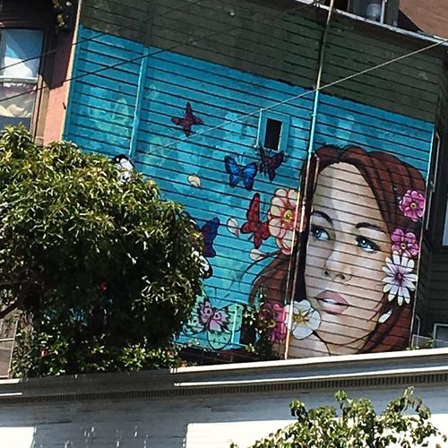 San Francisco Flowerpower🌸 Street Art Painting Colorful Hippie Building Exterior One Woman Only Streatphotograpy California