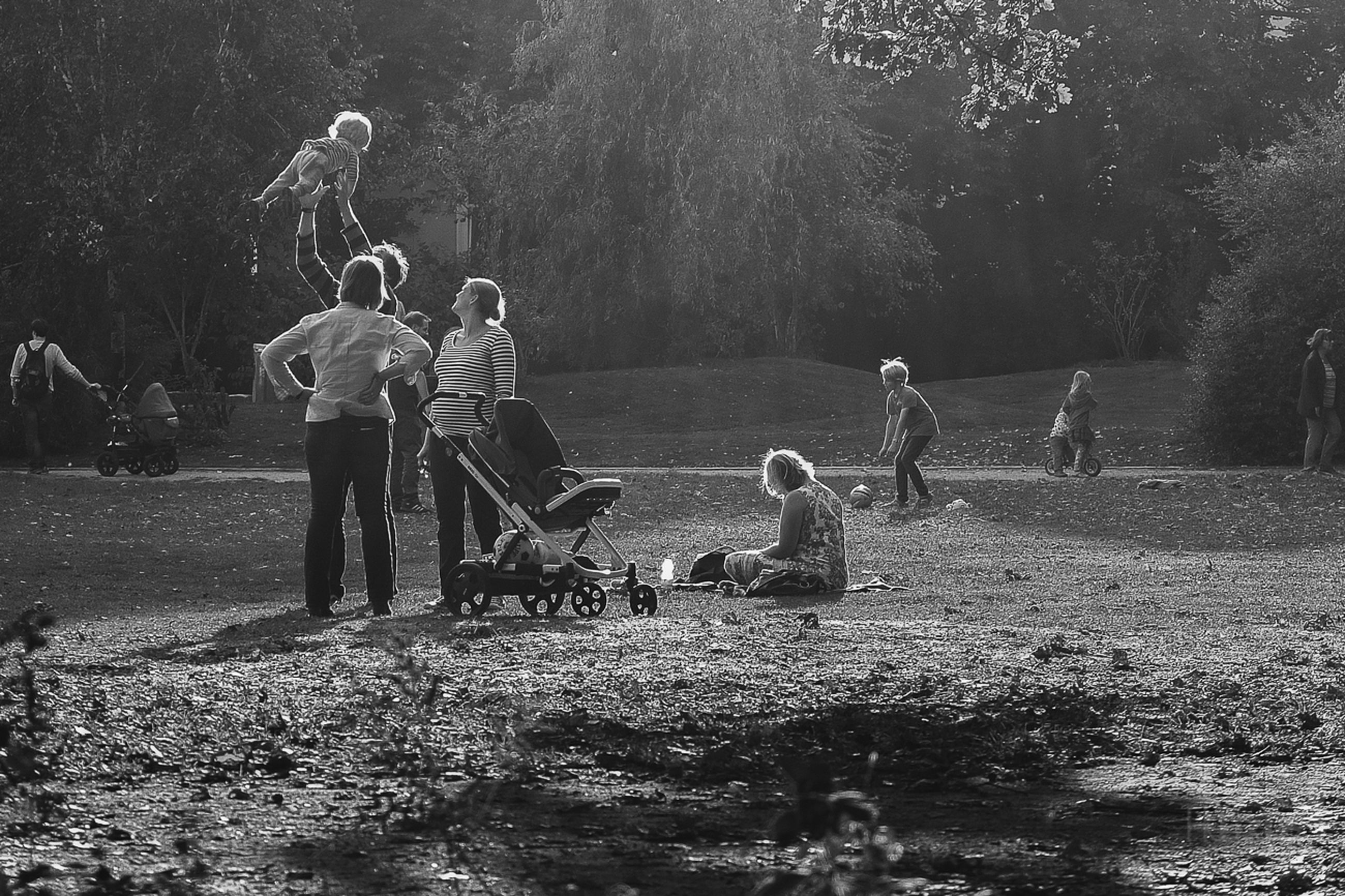 lifestyles, leisure activity, childhood, full length, boys, men, togetherness, tree, girls, casual clothing, playing, elementary age, field, bonding, walking, grass, rear view, park - man made space