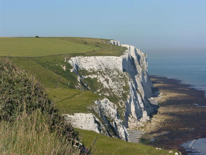 Beach Cliffs Coastline England Grass Green Green Color Landscape Rock Rock - Object Rock Formation Sea Water White Cliffs